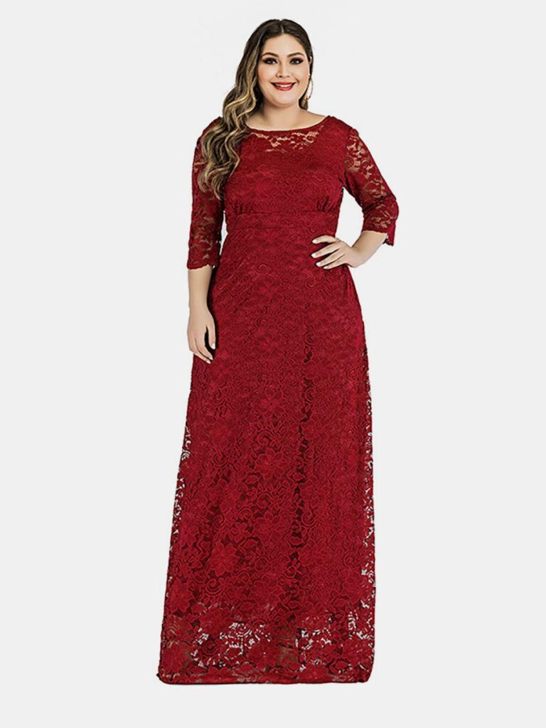 shestar wholesale plus size lace pocket side evening dress
