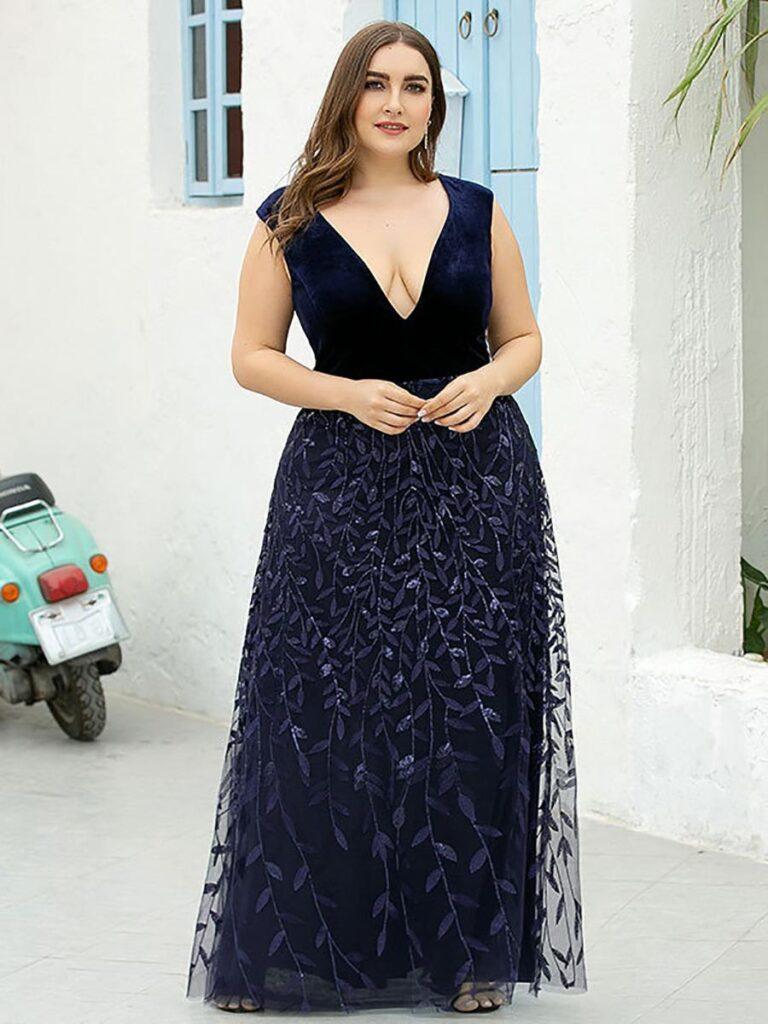 shestar wholesale plus size sexy leaf sequins elegant evening dress