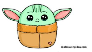 how to draw baby yoda easy