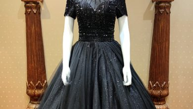 popin-V-BLACK STONE WORK BALL GOWN wedding gown on rent in Mumbai