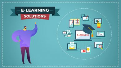 This image is an illustrative with a solid blue background with a creative boy of purple outfit that is pointing towards e-learning solutions banner